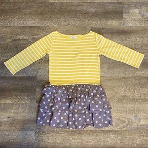 Mini Boden Dress Yellow Stripes Gray Polka Dot 4-5
